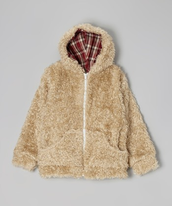Beige Curly Faux Fur Zip-Up Hoodie - Girls