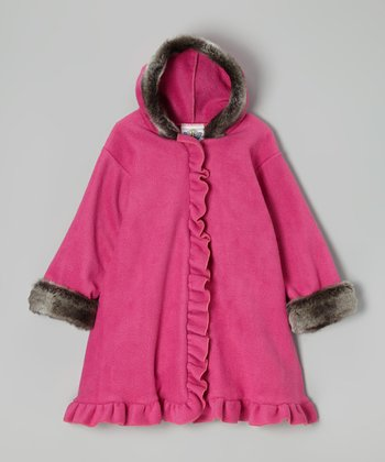 Watermelon & Charcoal Hooded Swing Coat - Infant, Toddler & Girls