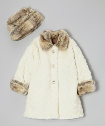 White Faux Fur Sweet Pea Coat & Hat - Infant