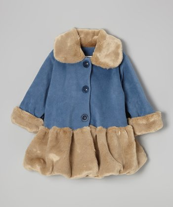 Blue & Tan Faux Fur Sweet Pea Coat - Infant, Toddler & Girls