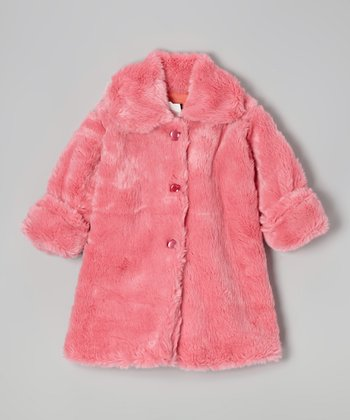 Brite Pink Faux Fur Sweet Pea Coat - Infant & Toddler