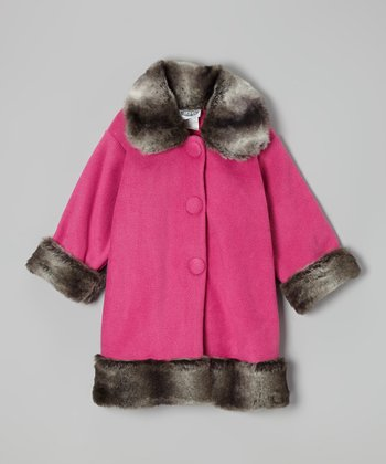 Watermelon & Charcoal Sweet Pea Coat - Infant, Toddler & Girls