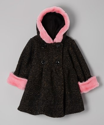 Black Tweed Hooded Bubble Coat - Toddler