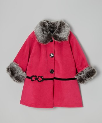 Pink Solitare Fleece Sweet Pea Coat - Toddler & Girls