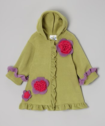 Pistachio Fleece Hooded Swing Coat - Infant, Toddler & Girls