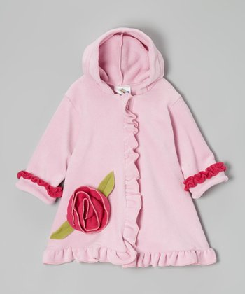 Pink Fleece Hooded Swing Coat - Infant, Toddler & Girls