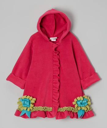 Pink Solitaire Hooded Swing Coat - Infant & Girls