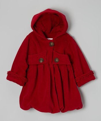 Cherry Fleece Mary Jayne Hooded Coat - Girls
