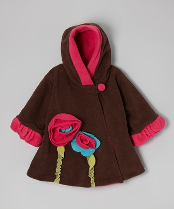 Brown Wrap Swing Coat - Girls
