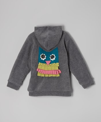 Charcoal Owl Fleece Zip-Up Hoodie - Toddler
