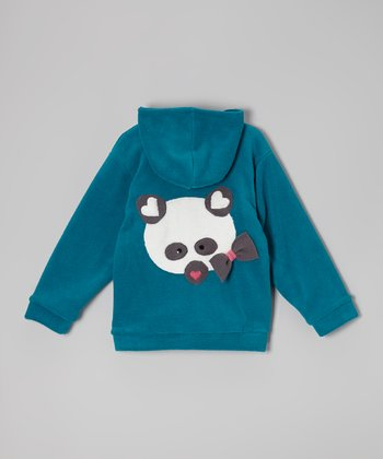 Green Panda Fleece Zip-Up Hoodie - Toddler