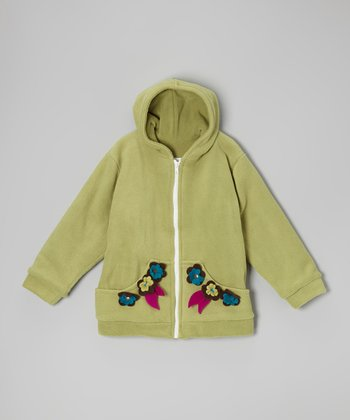 Pistachio Flowers Fleece Zip-Up Hoodie - Infant, Toddler & Kids