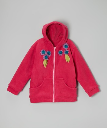 Pink Flowers Fleece Zip-Up Hoodie - Infant