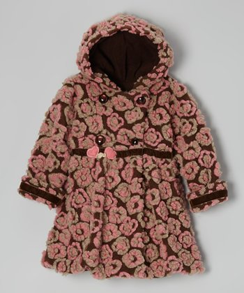 Brown Anne Flower Hooded Bubble Coat - Toddler