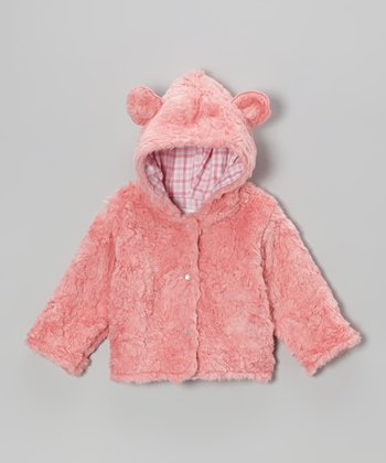 Coral Fur Bear Hooded Jacket - Infant & Toddler