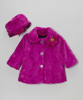 Violet Faux Fur Sweet Pea Coat & Hat - Toddler & Girls