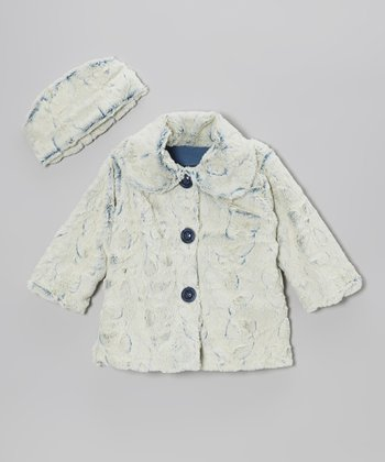 Denim Faux Fur Sweet Pea Coat & Hat - Infant, Toddler & Girls