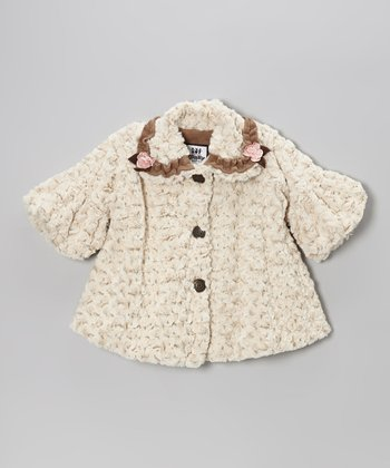 Beige Frosted Faux Fur Sweet Pea Coat - Toddler & Girls