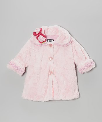 Pink Crushed Faux Fur Sweet Pea Coat - Infant & Girls