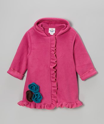 Dark Pink Fleece Hooded Swing Coat - Infant, Toddler & Girls