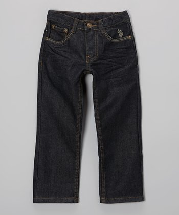 Dark-Wash Crinkle Straight-Leg Jeans - Boys