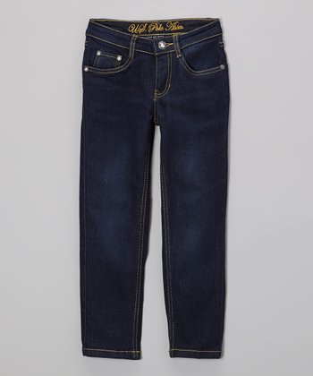 Medium-Wash Straight-Leg Jeans - Girls