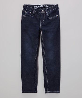 Medium-Wash & White Stitch Straight-Leg Jeans - Girls