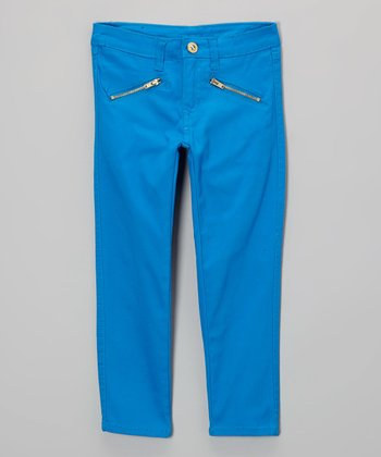 Blue Zipper Pocket Pants - Toddler & Girls