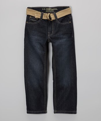 Medium-Wash Jeans & Khaki Belt - Boys