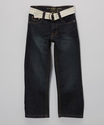 Medium-Wash Jeans & White Belt - Boys