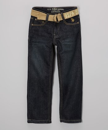 Medium-Wash Embroidered Jeans & Khaki Belt - Toddler