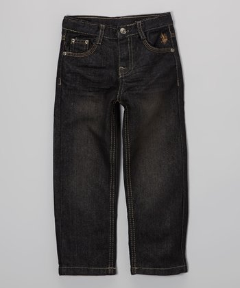 Dark-Wash Embroidered Straight-Leg Jeans - Toddler & Boys