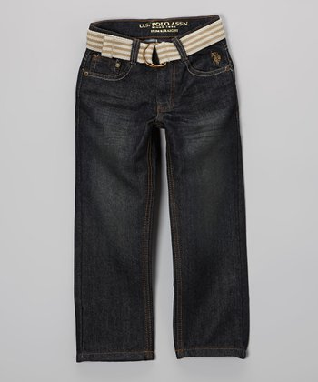 Medium-Wash Jeans & Stripe Belt - Toddler & Boys