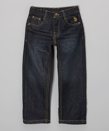 Medium-Wash Flap Pocket Embroidered Jeans - Toddler & Boys