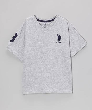 Gray 'USPA' V-Neck Tee - Toddler & Boys