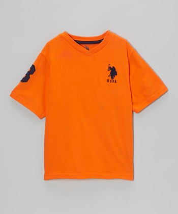 Orange 'USPA' V-Neck Tee - Toddler & Boys