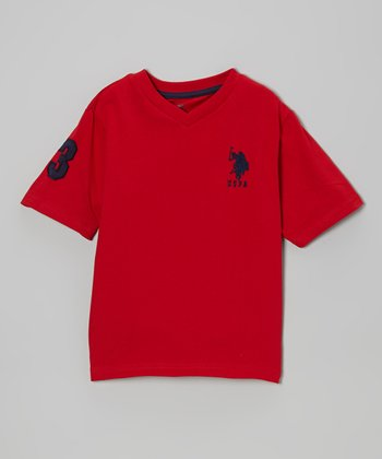 Red 'USPA' V-Neck Tee - Boys