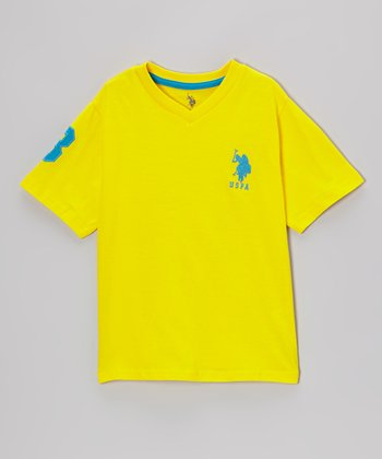 Yellow 'USPA' V-Neck Tee - Toddler & Boys