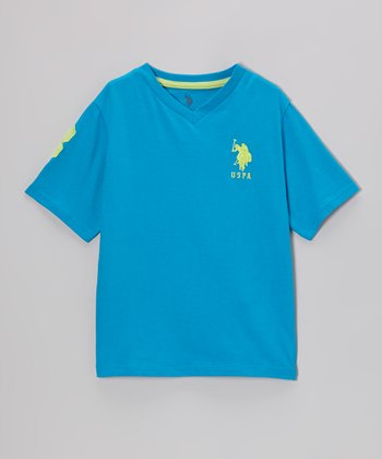 Aqua 'USPA' V-Neck Tee - Toddler & Boys