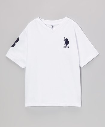 White 'USPA' V-Neck Tee - Toddler & Boys