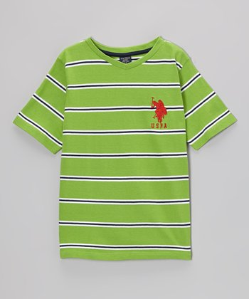 Green Stripe 'USPA' V-Neck Tee - Toddler & Boys