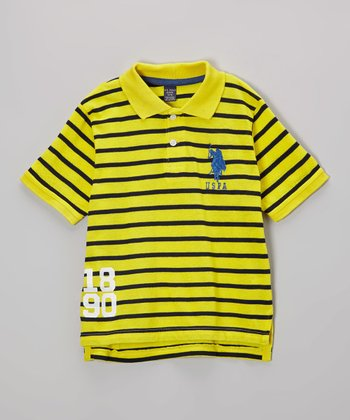 Yellow Stripe Polo - Boys
