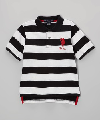 Black & White Stripe Polo - Toddler & Boys