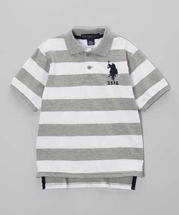Gray & White Stripe Polo - Toddler & Boys