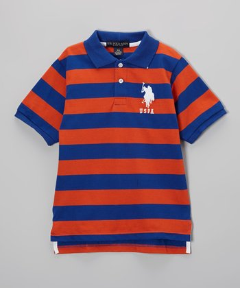Orange & Blue Stripe Polo - Toddler & Boys