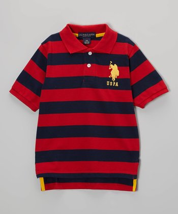 Red & Black Stripe Polo - Toddler & Boys