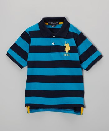 Blue & Navy Stripe Polo - Toddler & Boys