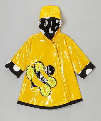 Yellow & Black Polka Dot Bee Swing Raincoat - Toddler & Girls