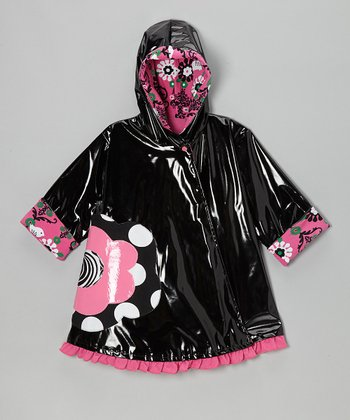 Black & Brite Pink Flower Swing Raincoat - Toddler & Girls