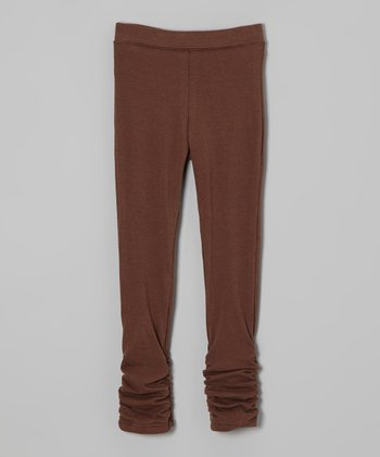 Brown Ruched Leggings - Infant, Toddler & Girls